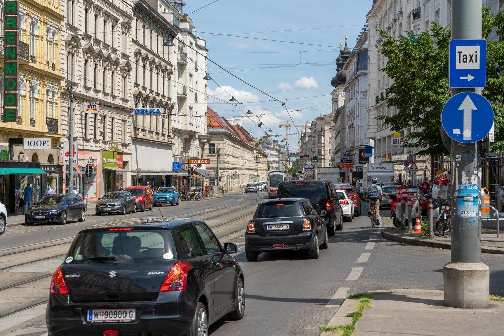 Alser Straße: unsichere Radwege in der Nähe des Alten AKH (8./9. Bezirk, Foto: 2020)