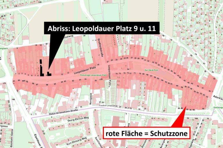 Plan des Leopoldauer Platzes mit Schutzzone und Abrissen
