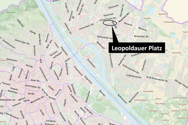 Wien-Karte mit Leopoldauer Platz