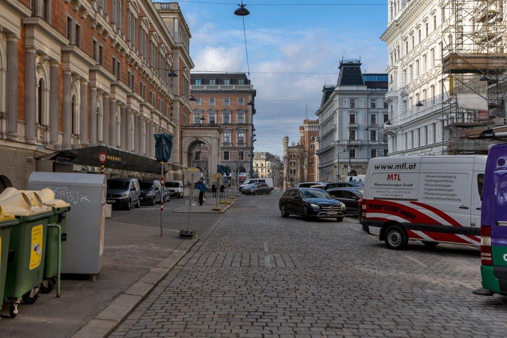 Börse, Schottenring, Autos, Tankstelle, Parkplätze, Theophil Hansen, Wien, Innenstadt