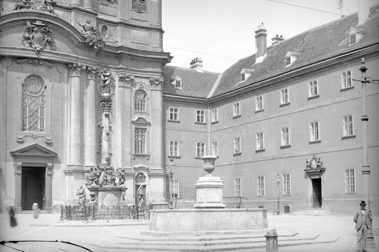 Piaristenkirche, Löwenburg-Konvikt, Jodok-Fink-Platz, Josefstadt