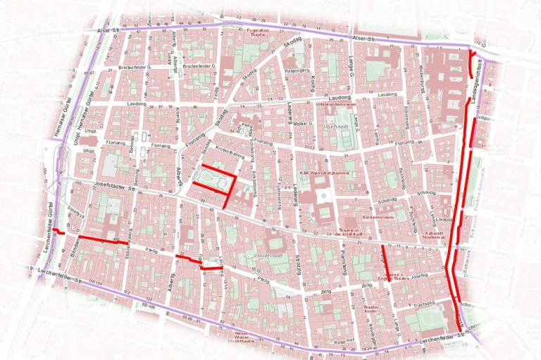 Radwegnetz im 8. Bezirk: baulich getrennte Radwege, Begegnungszonen, KFZ-Fahrverbote