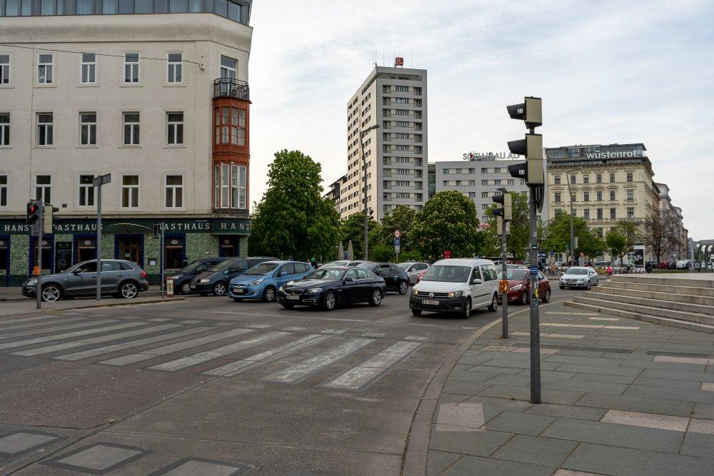 Praterstern: hohe Verkehrsbelastung mitten in der Stadt (Foto: 2020)