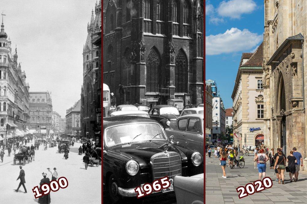 Stephansplatz um 1900 vs. 1965 vs. 2020