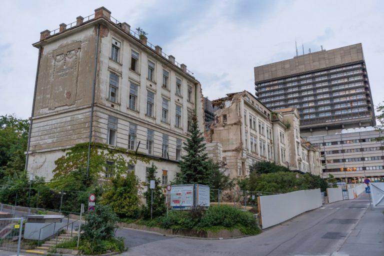 Abriss der I. Medizinischen Klinik des Wiener AKH, Alsergrund, Bettenturm, Baustelle, Klinikgebäude, Emil von Förster