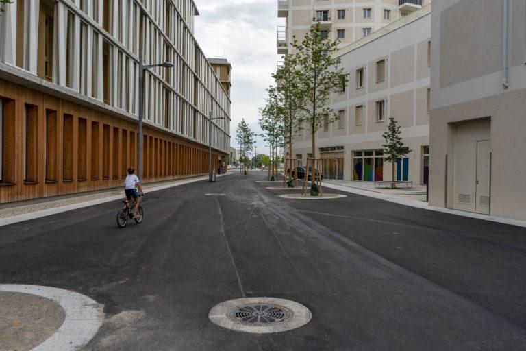 öffentlicher Raum im Seeparkquartier, Seestadt Aspern, Fußgängerzone, Asphalt, Bäume