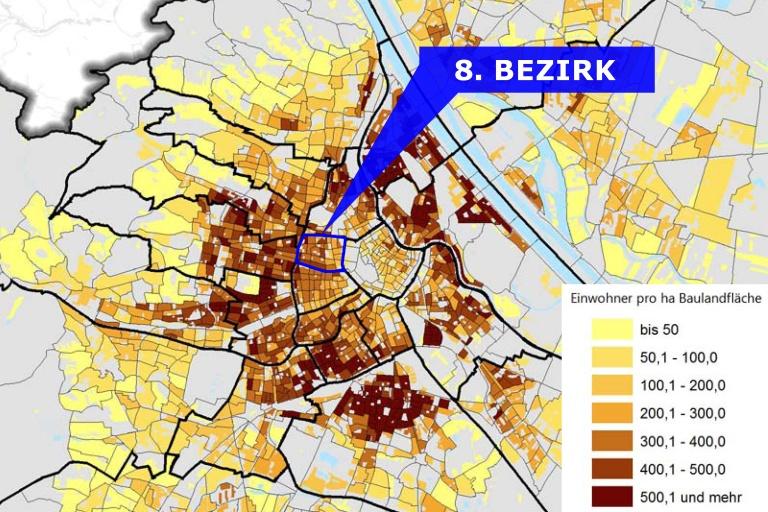 Karte mit der Bevölkerungsdichte in Wien, hervorgehoben der 8. Bezirk (Josefstadt)