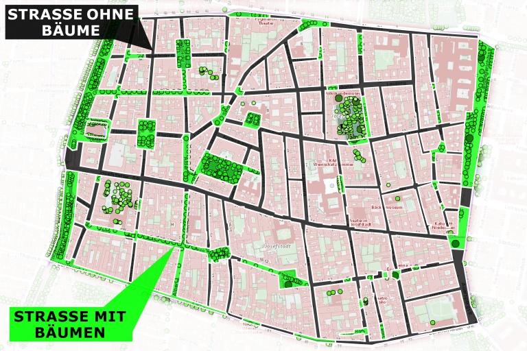 Karte mit Bäumen in der Josefstadt