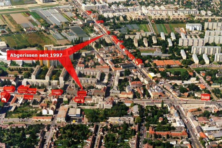 Luftaufnahme von Wagramer Straße, Donaufelder Straße und Kagraner Platz, 1997, eingezeichnet sind abgerissene Häuser, Wien