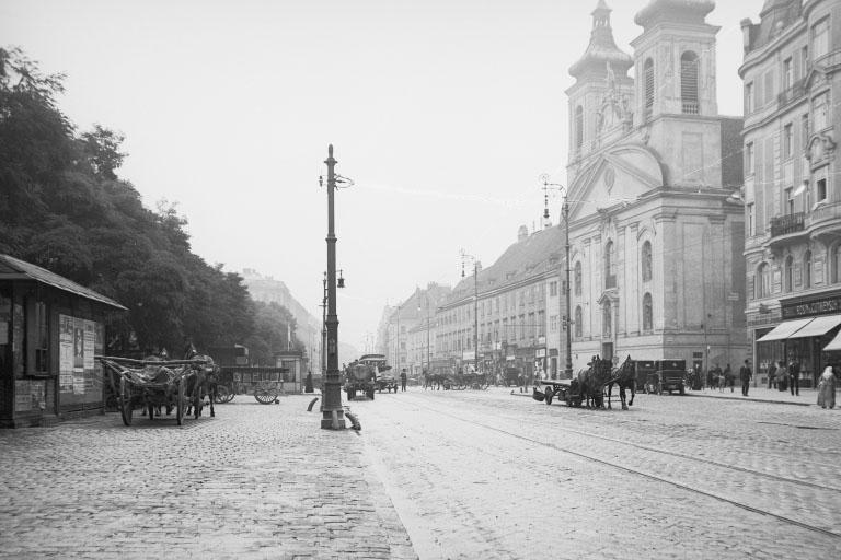 Landstraßer Hauptstraße im Jahr 1912, Rochuskirche, historische Aufnahme