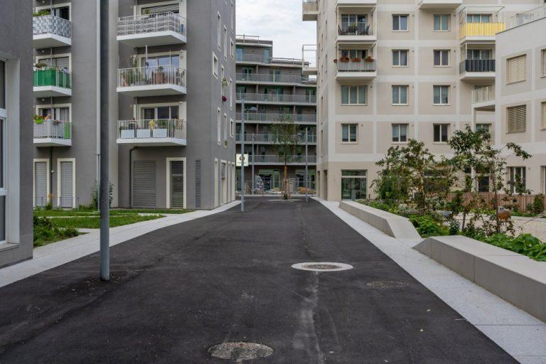 öffentlicher Raum im Seeparkquartier, Seestadt Aspern, Fußgängerzone, Asphalt, Wohnhäuser, Neubauten, Donaustadt, Wien