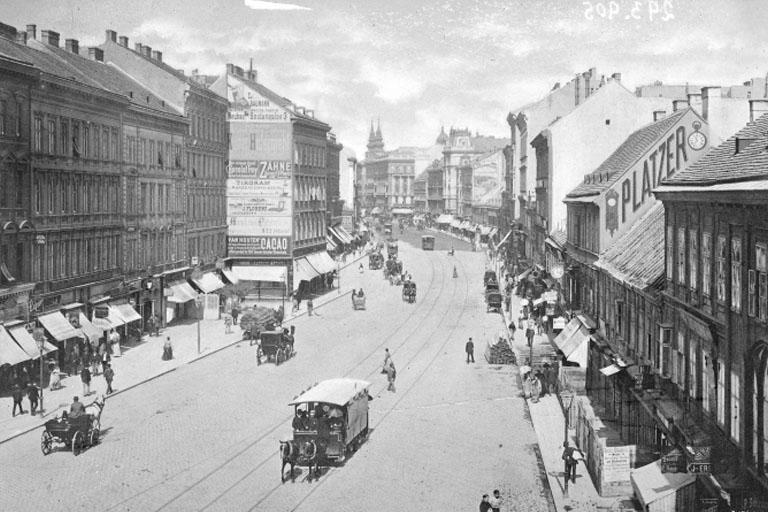 """Mariahilferstraße als """"Begegnungszone"""" im 19. Jahrhundert, historisches Foto, Wien"""