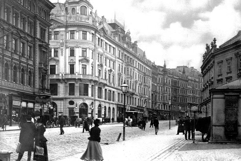 Mariahilferstraße bei der Rahlgasse mit Neubau, Wien, 19. Jahrhundert
