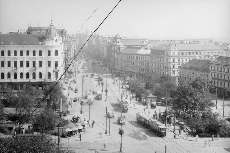 Gürtel und Mariahilfer Straße, historische Aufnahme, Straßenbahnen, Neubau, Mariahilf, Wien