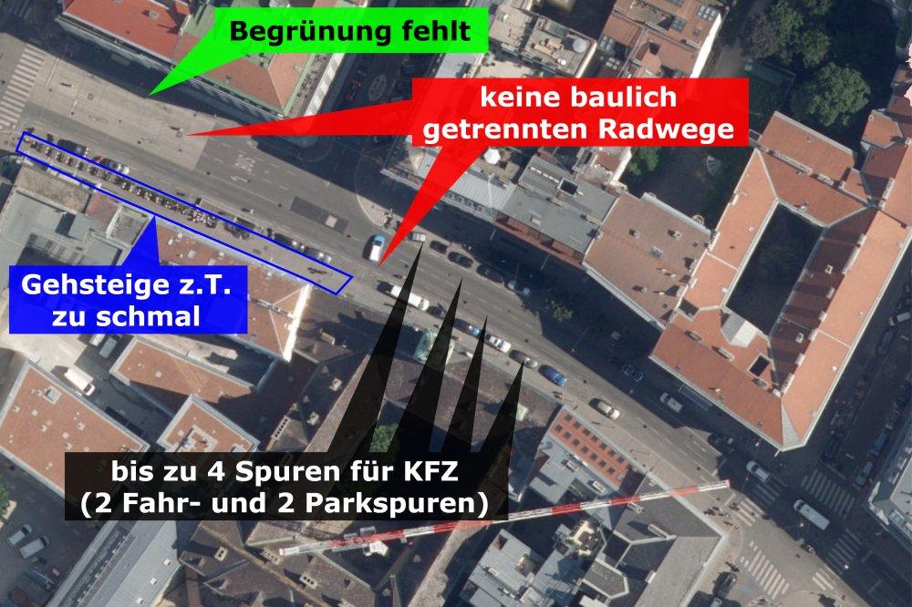 Satellitenaufnahme der Landstraßer Hauptstraße, Wien