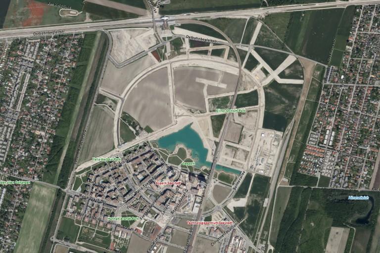 Satellitenaufnahme der Seestadt Aspern, Wien, Donaustadt