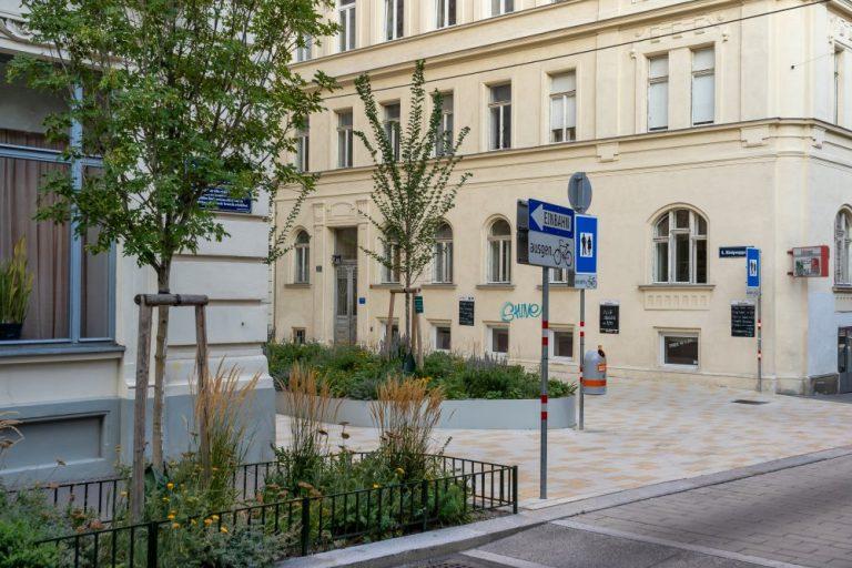 Loquaiplatz u. Königsegggasse mit Begrünung (August 2020)