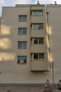 Neubau-Wohnhaus im Sonnwendviertel in Wien-Favoriten, Erker
