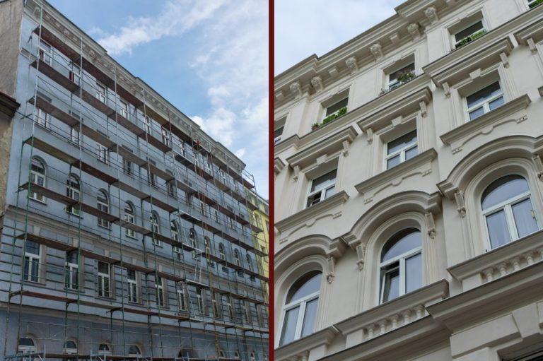 Vergleich einer Hausfassade in Wien-Landstraße vor und nach der Renovierung