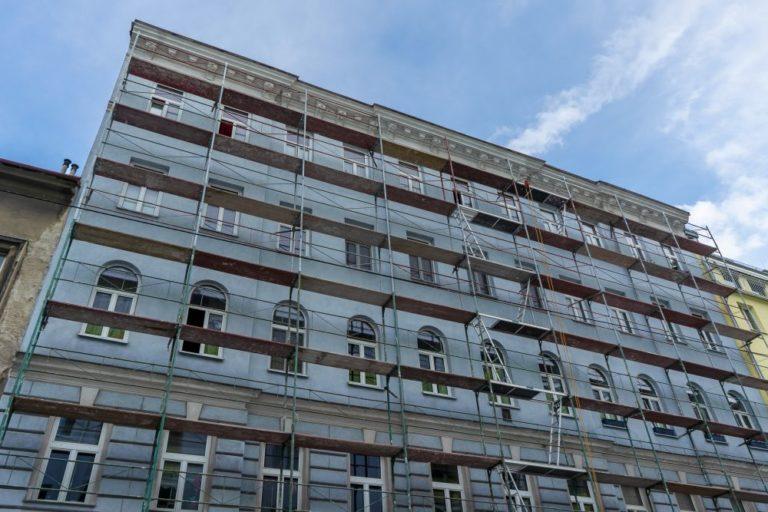Gründerzeithaus in Wien-Landstraße wird renoviert, Gerüst, Schimmelgasse