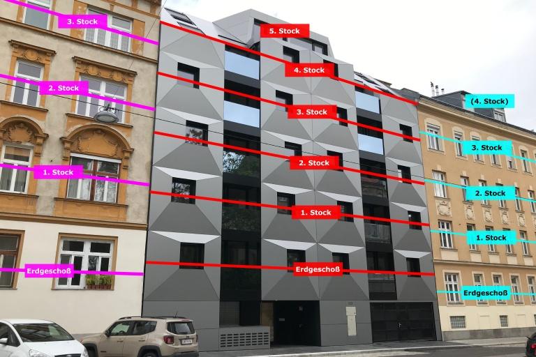 Vergleich der Geschoßzahlen eines Neubaus mit zwei Altbauten in Wien-Ottakring, Albrechtskreithgasse 38