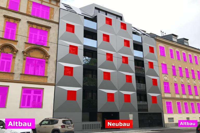 Neubau und Altbauten in der Albrechtskreithgasse, Ottakring, Wien, Vergleich von Fensterformen/-größen