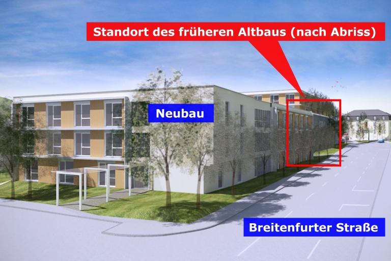 Rendering Pflegezentrum Kalksburg, Breitenfurter Straße, Mackschlössl, nach Abriss des Gründerzeithauses in der Breitenfurter Straße 529, Liesing, Wien