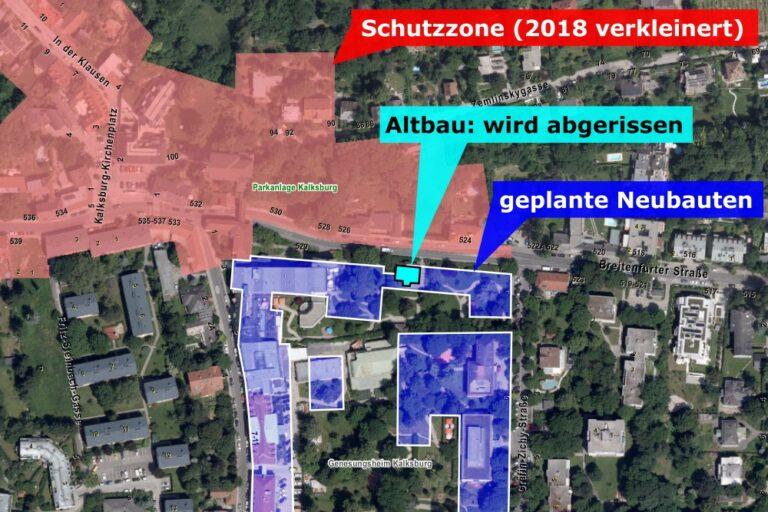 Karte von Kalksburg mit Schutzzone, Abriss und Neubauten, Liesing, Wien