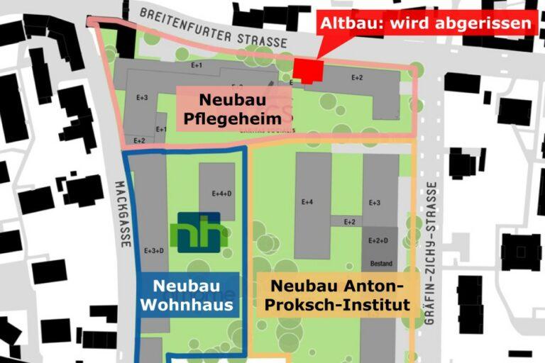 Karte von Kalksburg mit Bauvorhaben, Pflegeheim, Anton-Proksch-Institut, Breitenfurter Straße, Mackgasse, Gräfin-Zichy-Straße, Liesing, Wien