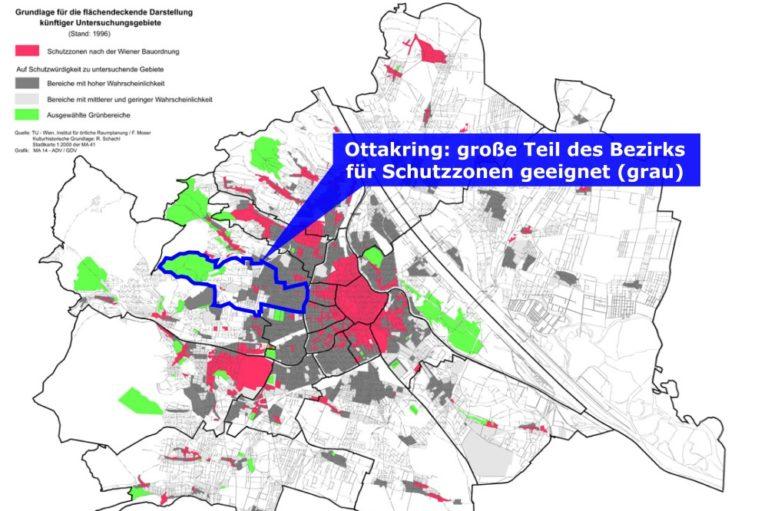 Wien-Karte mit Schutzzonen und für Schutzzonen geeigneten Gebieten, Studie von 1996, Altstadterhaltung, Ensembleschutz