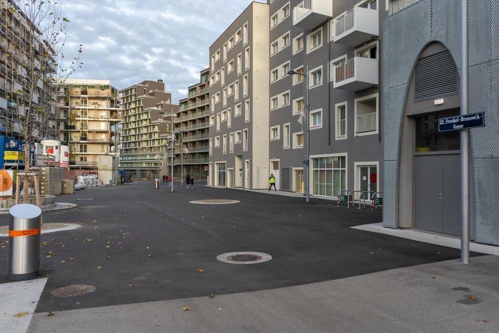Seestadt Aspern, Fußgängerzone, Seeparkquartier, Asphalt, 1220 Wien