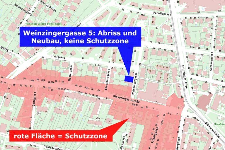 Plan mit Schutzzonen, Weinzingergasse, Sieveringer Straße, Döbling, Wien