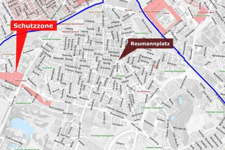 Karte von Favoriten mit Schutzzonen, Wien