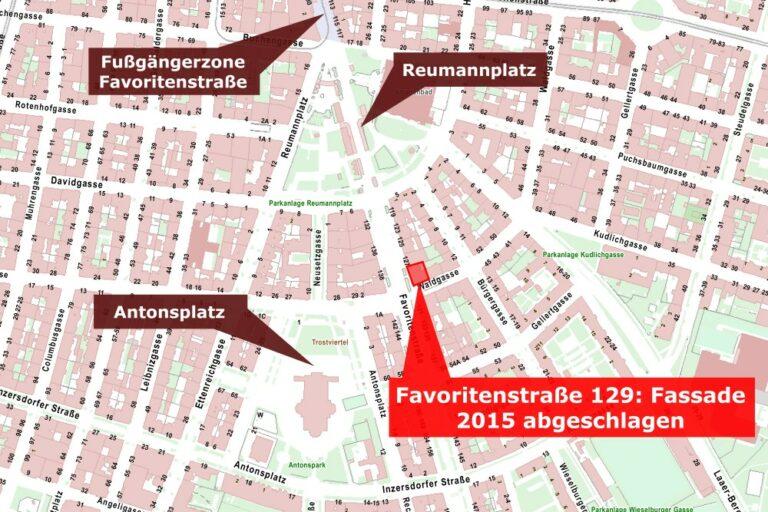 Karte der Umgebung des Reumannplatz in Wien-Favoriten, eingezeichnet ist die Adresse Favoritenstraße 129