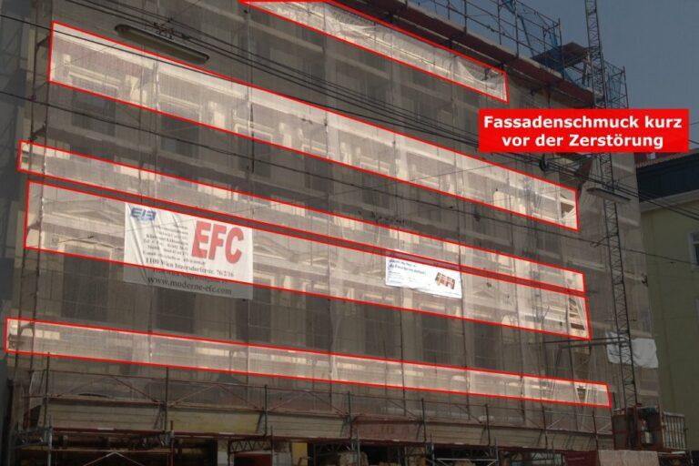 Ornamente am Haus Favoritenstraße 129/Waldgasse 58, Baustelle, Wien