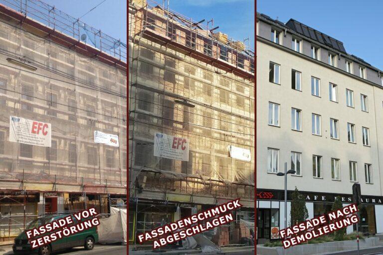 Gründerzeithaus Favoritenstraße 129: mit historischer Fassade, Demolierung der Fassade, geglättete Fassade, Wien