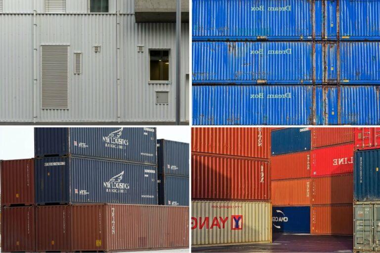 Fassade eines Hauses im Vergleich mit Containern
