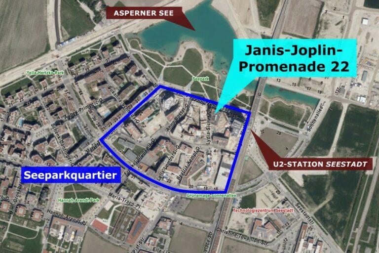 Karte Seestadt Aspern, Donaustadt, Wien, Janis-Joplin-Promenade 22,