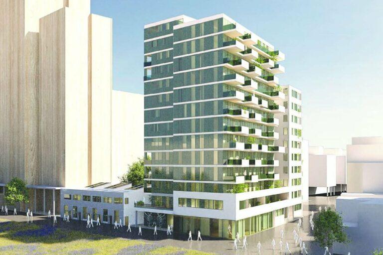 Rendering eines Wohnhaushauses, Architekturwettbewerb, Seestadt Aspern, Janis-Joplin-Promenade 22, Seeparkquartier, 1220 Wien