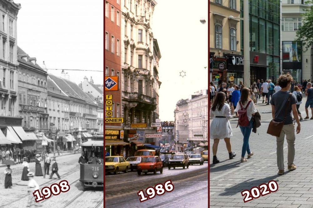 drei Aufnahmen von der Mariahilfer Straße in Wien