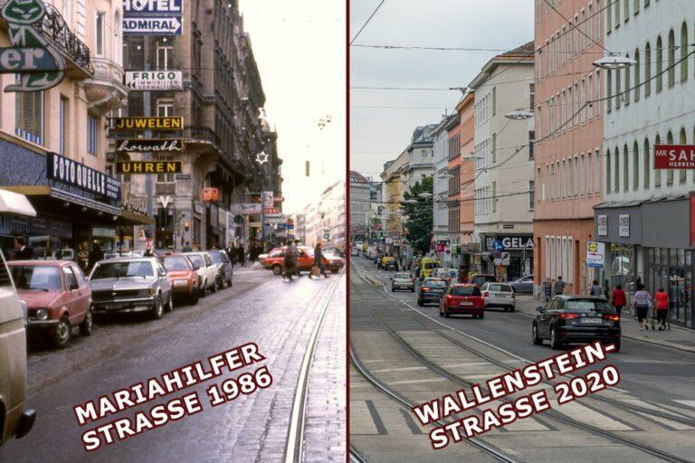Fotos von der Mariahilfer Straße und der Wallensteinstraße, Wien