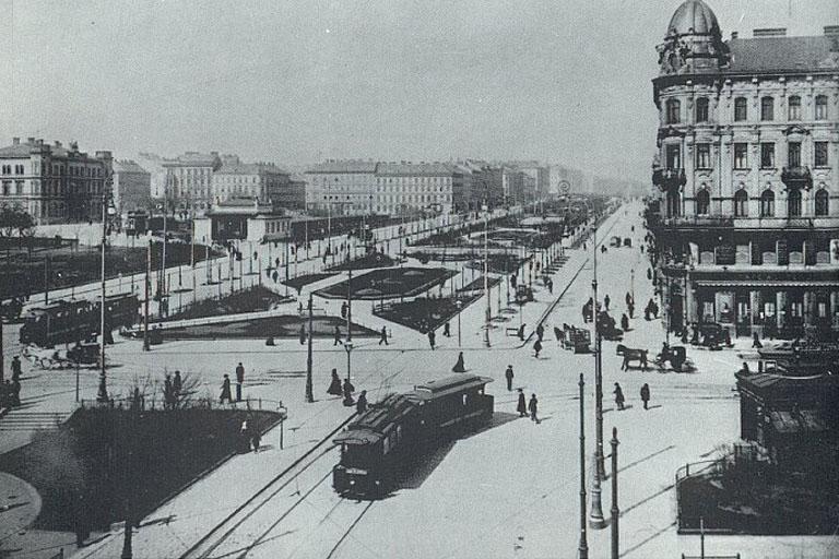Neubaugürtel beim Westbahnhof und Mariahilferstraße, historisches Foto, Jahrhundertwende, Rudolfsheim-Fünfhaus, Neubau, Wien