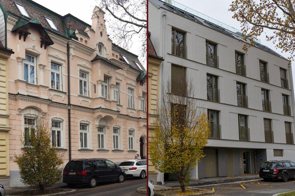 abgerissener Altbau und Neubau in der Weinzingergasse 5, Döbling, Wien, Stadtbildverlust, Abriss, Vergleich Altbau-Neubau