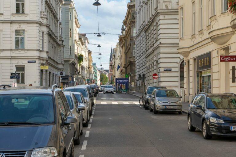 Argentinierstraße, zwischen Karlsplatz und Wiedner Gürtel: viele Parkplätze, fast keine Bäume (Foto: 2020)