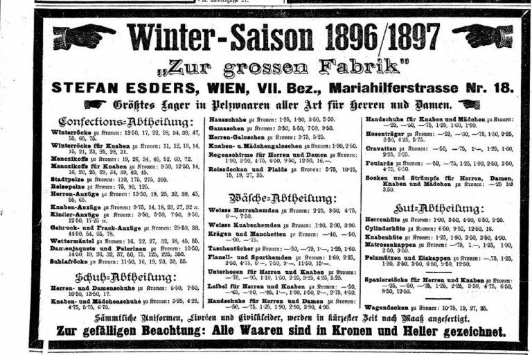 """Werbung des Warenhauses """"Zur großen Fabrik"""" von Stefan Esders, Mariahilferstraße 18, 1070 Wien, Leiner-Haus"""
