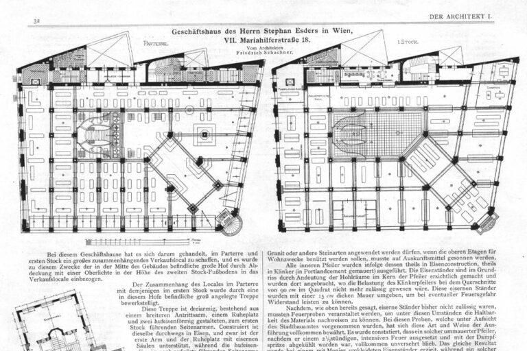 """Grundriss des Hauses in der Mariahilfer Straße 18 """"Zur großen Fabrik"""" von Stefan Esders, Wien"""