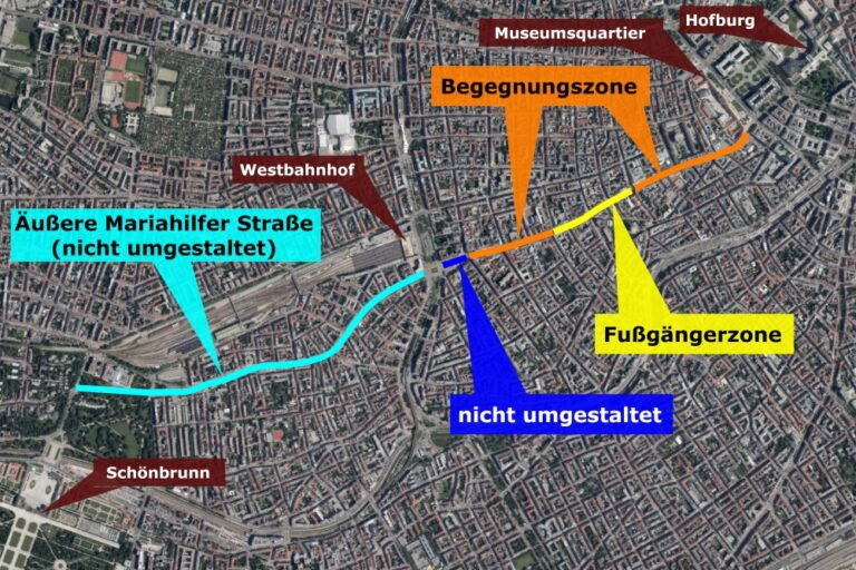 Satellitenbild der Mariahilfer Straße