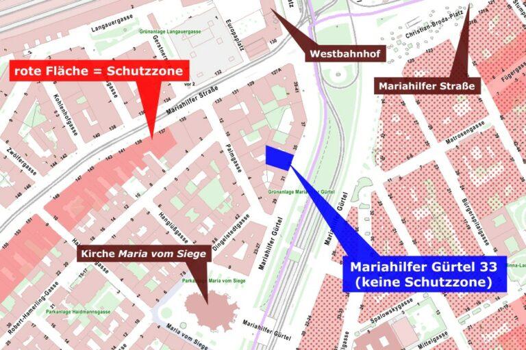 Karte des Mariahilfer Gürtels, mit Schutzzonen
