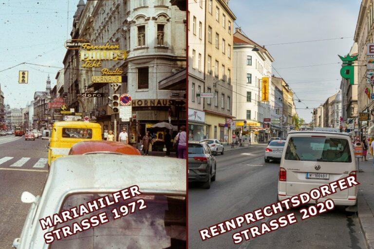 Vergleich von Mariahilfer Straße und Reinprechtsdorfer Straße, Autos, Verkehr, öffentlicher Raum