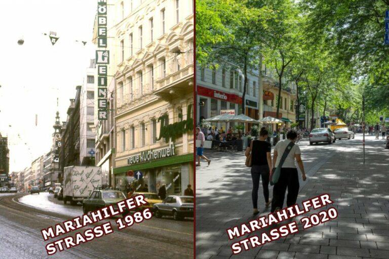 altes und neues Foto der Mariahilfer Straße